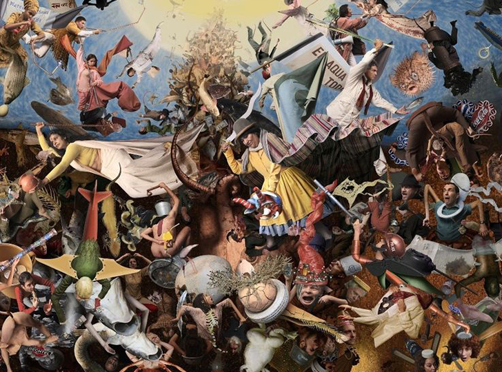 Digital collage of various human figures fighting to get to heaven