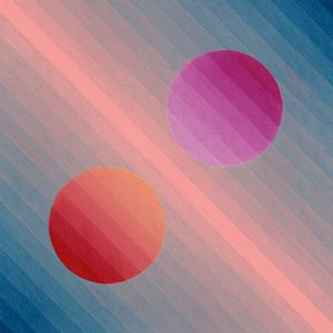 gradient pink and gradient red dots against a blue and pink striped background