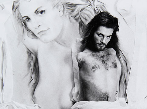 A black and white photograph of Lorenza Böttner against a charcoal drawing of her image.