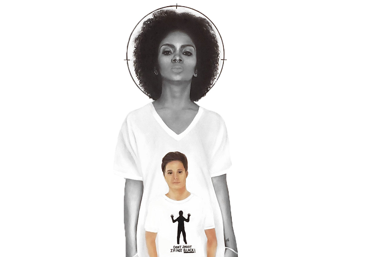An image of a black woman wearing a shirt with an image of a white man wearing a shirt with a black figure with the words
