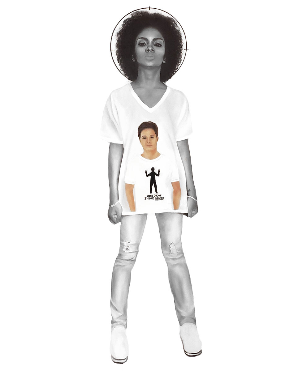 "An image of a black woman wearing a shirt with an image of a white man wearing a shirt with a black figure with the words ""DON'T SHOOT I'M NOT BLACK!""."