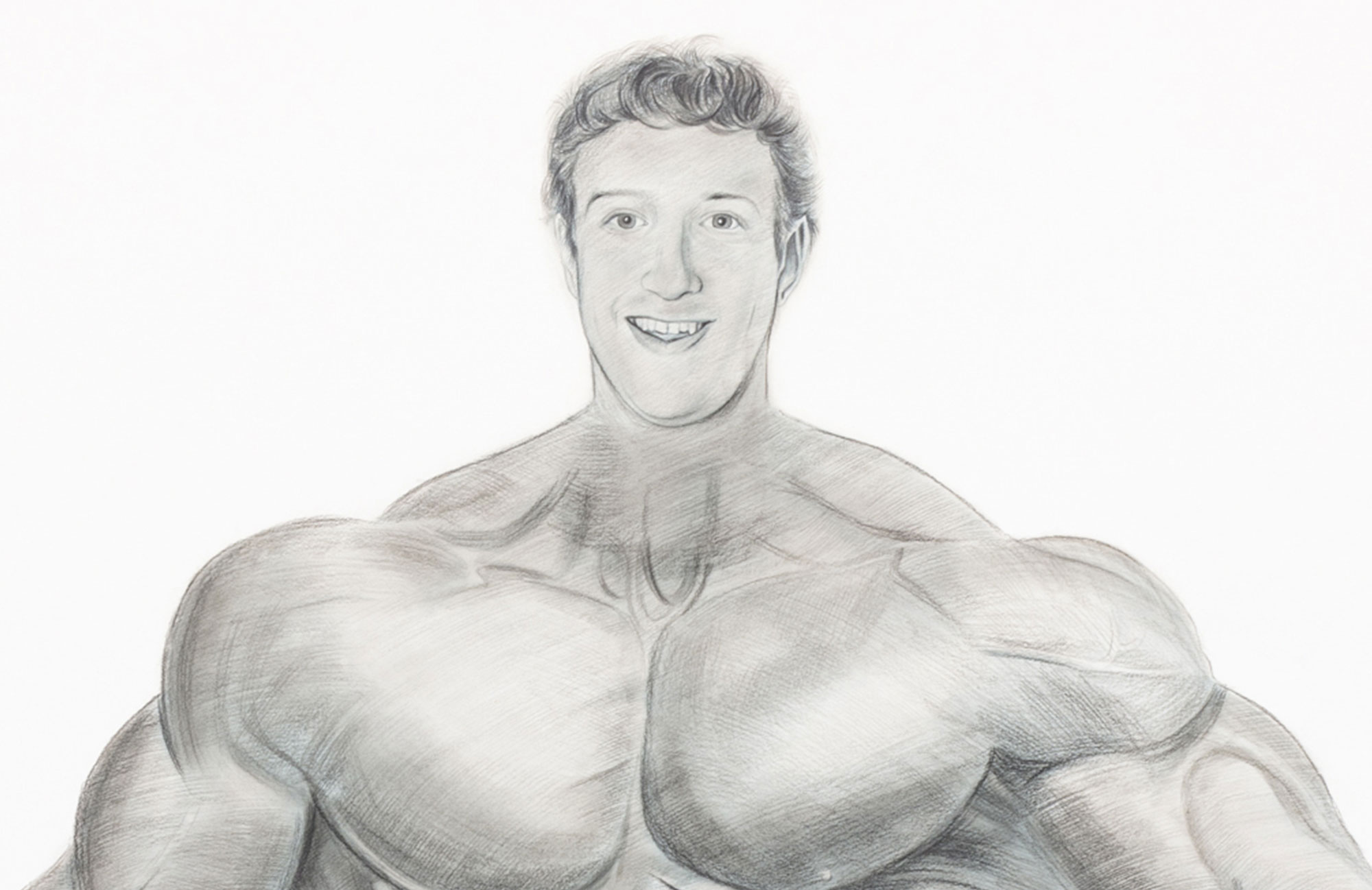 A pencil sketch of Mark Zuckerberg's face superimposed on an uber-muscular body.