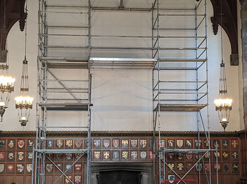 Installation of mirror in great hall