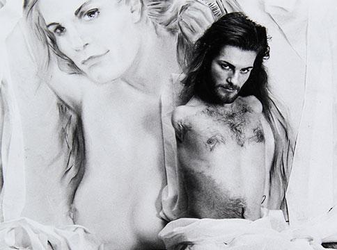 lorenza against a black and white self-portrait