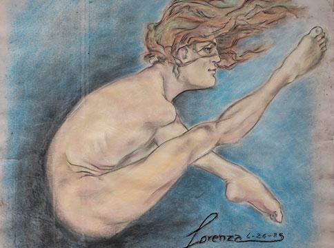 Pastel drawing of Lorenza Böttner in fetal position against blue background