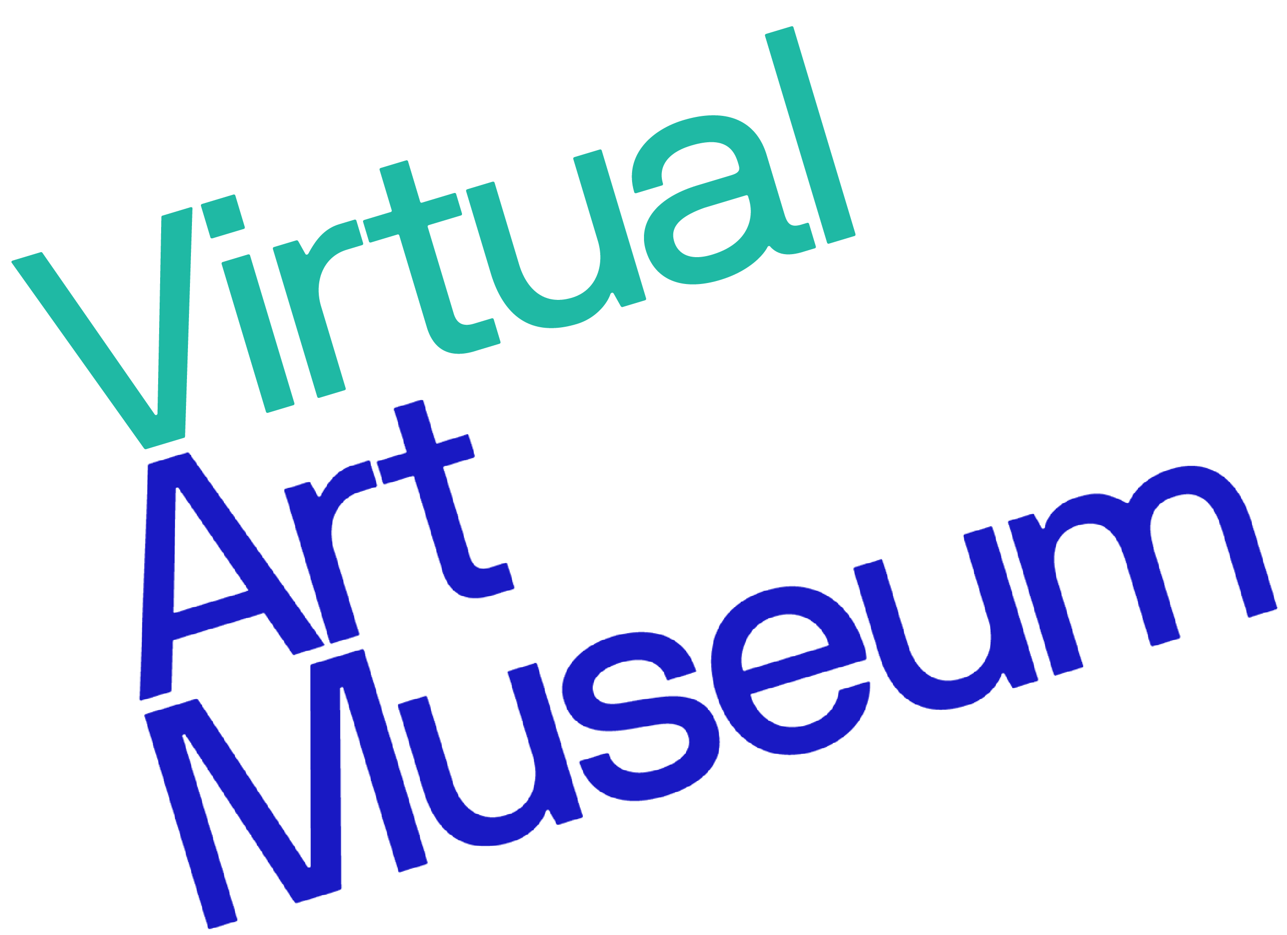 Virtual art museum logo in teal and blue