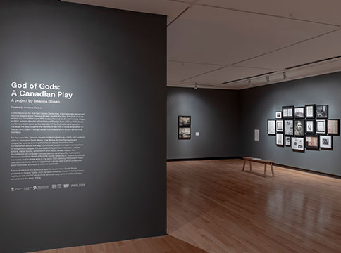 Installation view (entrance) of God of Gods: A Canadian Play