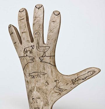 A hand sculpture.