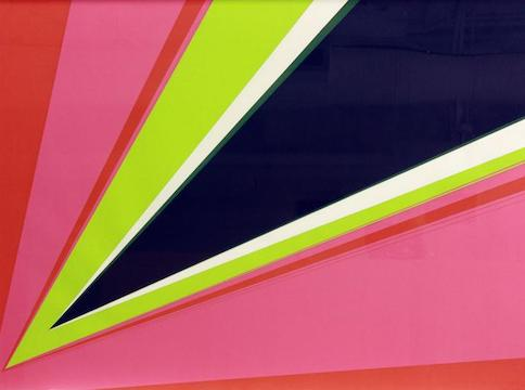 Red, pink, green, white, and blue triangular graphic pattern