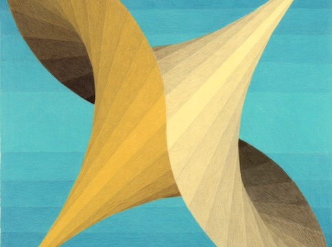 Yellow geometric pattern against blue gradient striped background