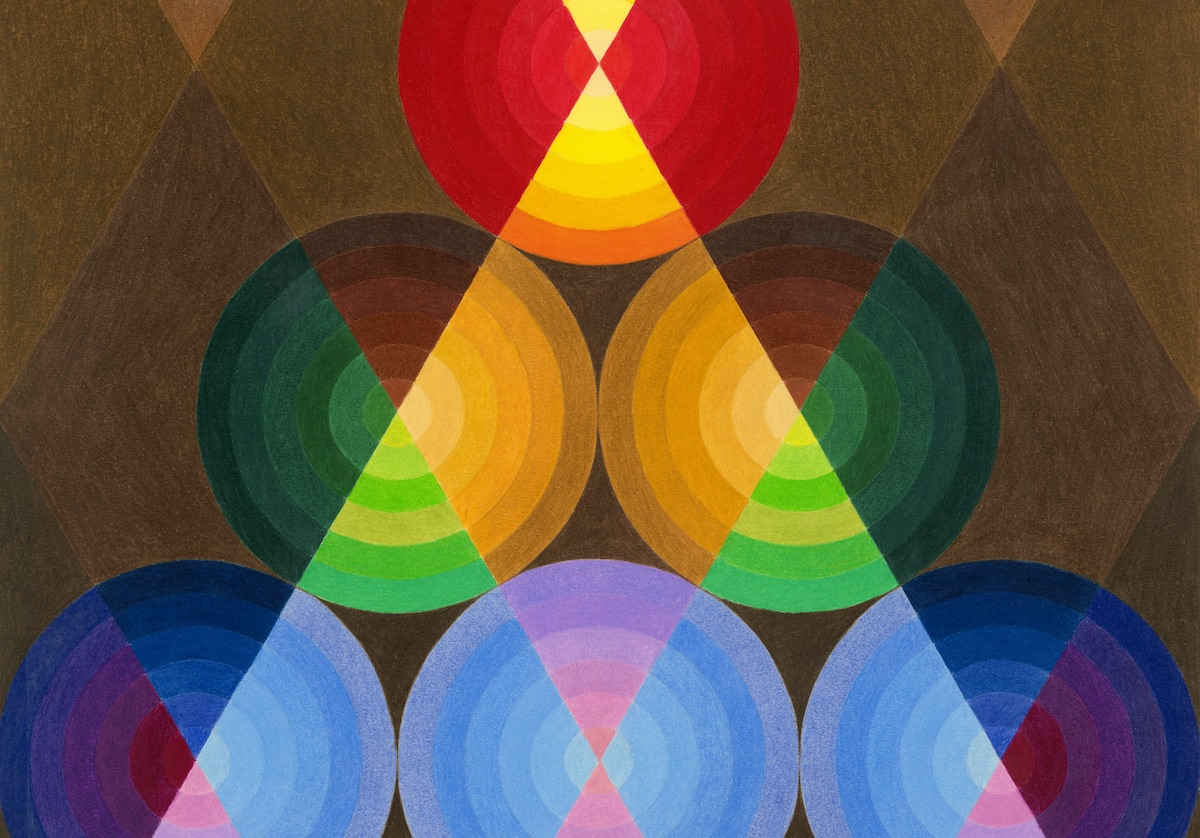 Multi-colored Geometric pattern of trapezoids over circles