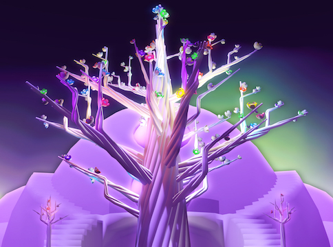 Purple tree with multicolored flowers against purple structure and night celestial sky