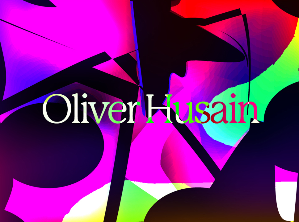 text that says Oliver Husain against graphic multicolor background