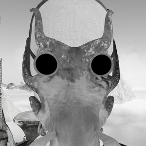 Black and white Animation of man wearing creature mask against dreamy background