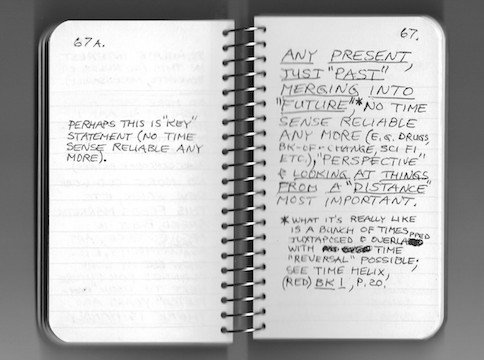 Two pages from a notebook labeled 67a and 67 with writing about past, present, and future