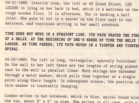Typewritten descriptive text about a loft scene featuring Lee Lozano