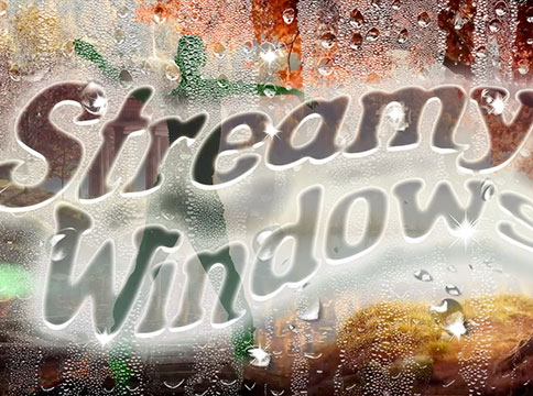 Streamy Windows logo against wet glass with silhouette of green figure