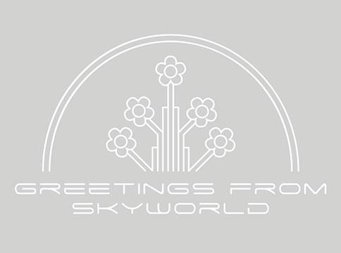 Greetings from skyworld logo in white against grey background