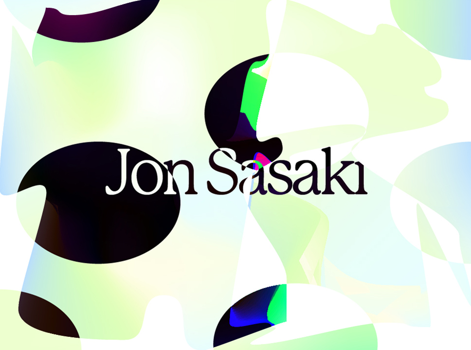 Text: Jon Sasaki against graphic background