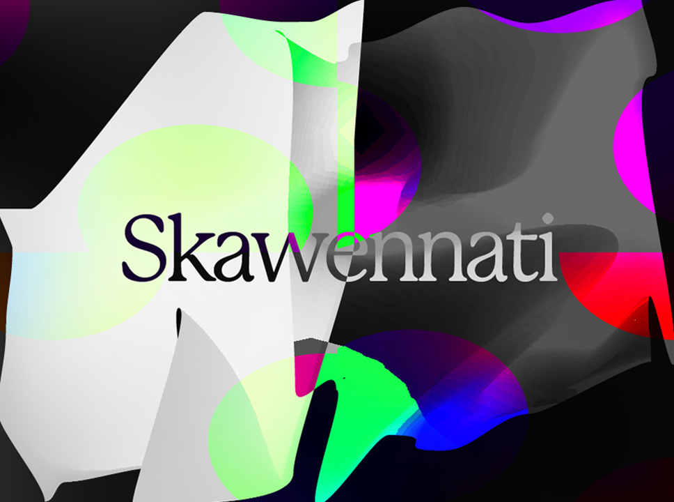 "Text reading ""Skawennati"" against graphic background"