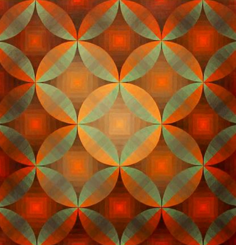 Pencil crayon drawing of green, orange, and red geometric pattern