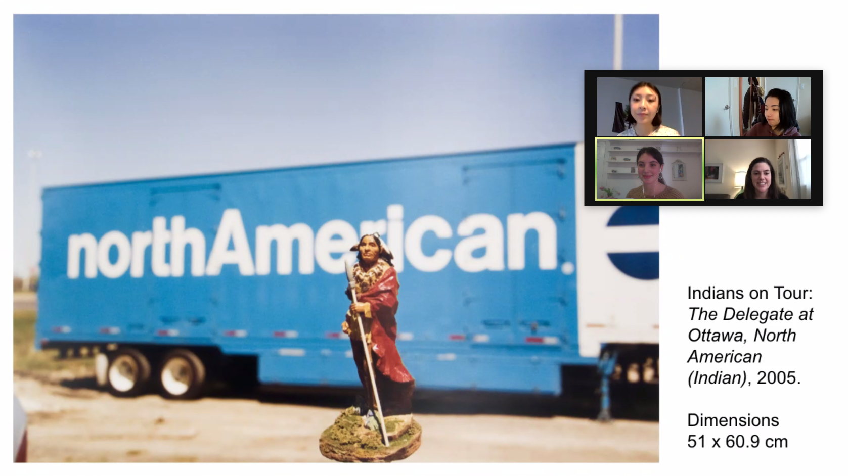 Zoom screenshot featuring four women and an image of an artwork