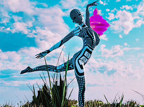 Animated figure posing on one leg standing on grassy hill against cloudy sky
