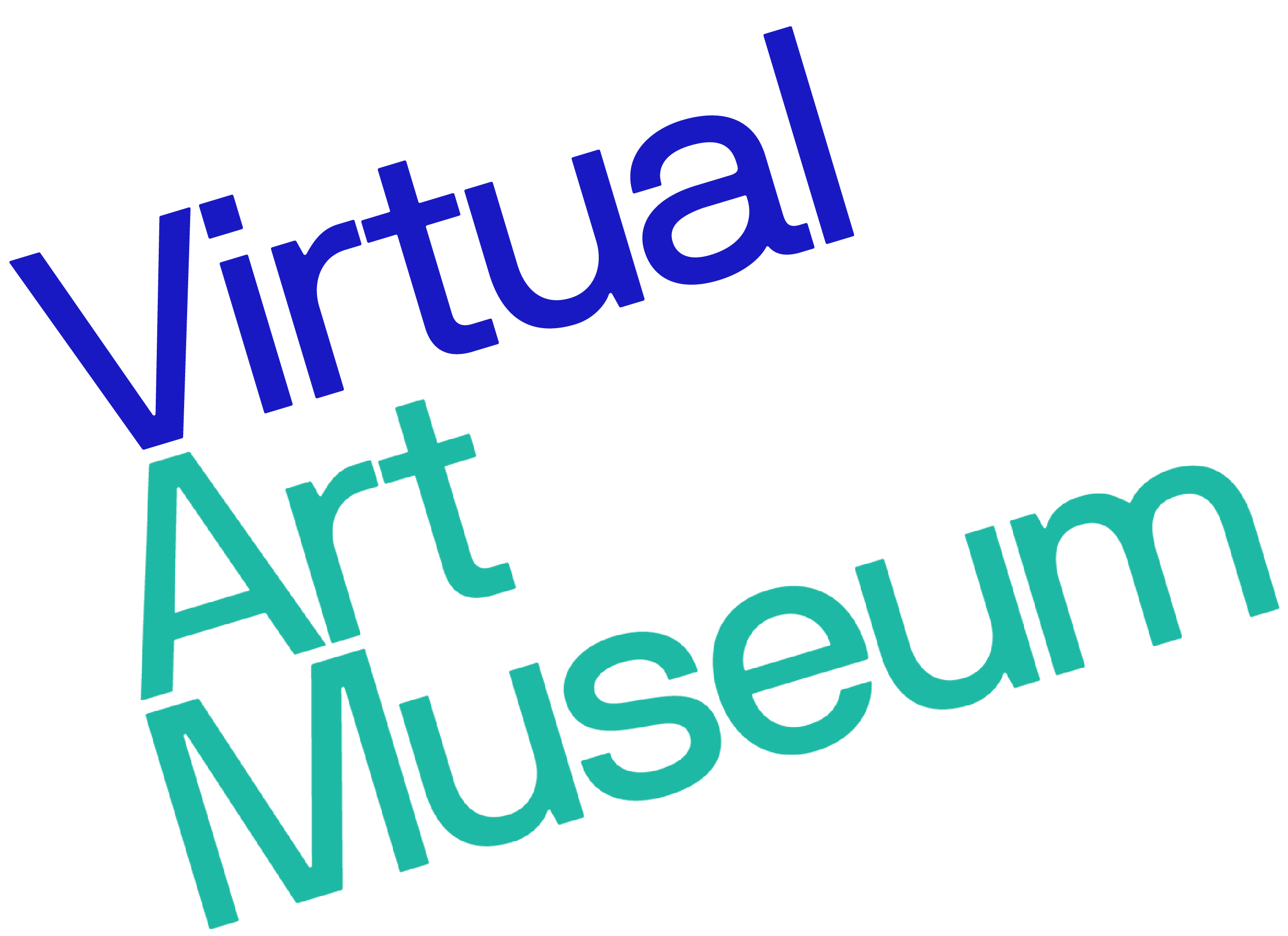 Virtual Art Museum logo in blue and teal